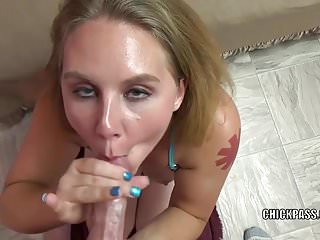 Busty wife Dani Arcadia is giving a point of view blowjob