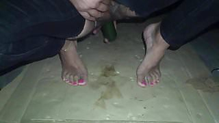 crossdresser night with pink toe nails and cucumber 9