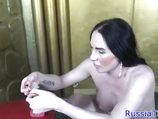 Preview 3 of Russian tgirl tugging cock and toying ass