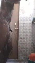 Nude bathing in public bathroom