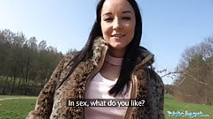 Public Agent Brazilian brunette rides cock on the backseat