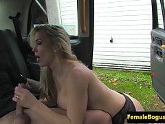 British stockinged cabbie cockriding after bj