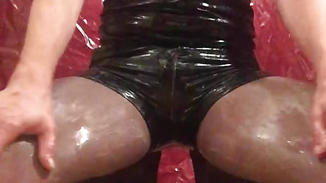 Preview 1 of Wet messy play with eggs leather shorts n pantyhose 1st v