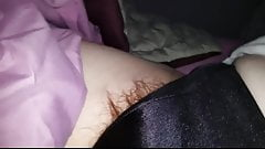 wifes tired hairy pussy sticking from black silk pantys