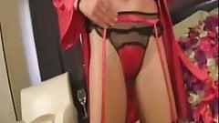 red satin piyama