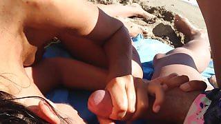 Face cumming on the beach