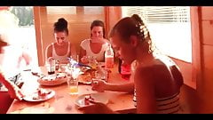 Cute lesbian models have a lesbian party on a boat