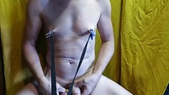 BDSM tits torture with ice cube , needles Estim for mistress