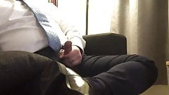 Asian Businessman Shoots a Nice Load After Work