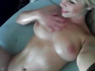 hot blonde with oil play on cam