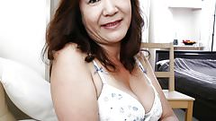 Japanese Granny shows Tits and Pussy