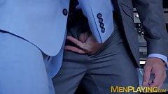 Businessman pounding partners tight wet butt hole hard