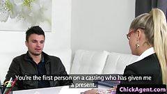 Stockinged casting agent jerking and sucking
