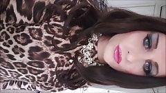 crossdresser in wife's leopard print dress