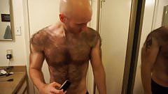 Hairiest man shaves his entire chest and back!