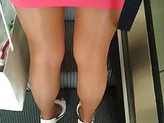 Candid Public Shiny Pantyhose Miniskirt High Heels