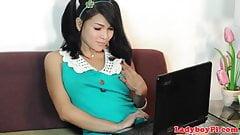 Bigass pinay ladyboy plays with her ass