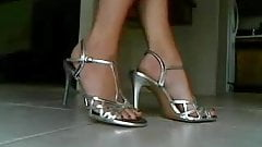 Bella Blu Sexy Feet In Sliver Strappy High Heels Tease