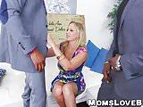 Hot blonde MILF Julia Ann hammered in threesome by BBCs
