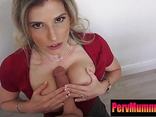 Mom makes step-son experience a real blowjob!