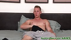Solo amateur solidier tugging on his dick