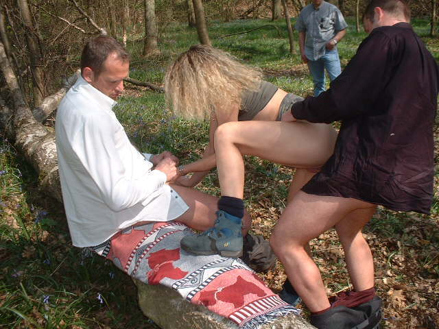 hot milf in forest with voyeurs