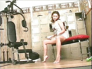 Dance clothes sexy - Sexy brunette strips her gym clothes and fucks a nice pink dildo in her cunt