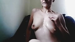 chick with lactacing saggy Tits Masturbates
