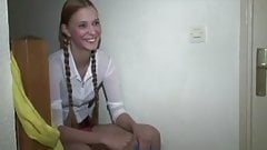 Blond teen happy to satisfy two cocks part 1