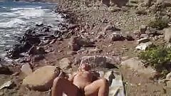 Wife naked beach sunbathing