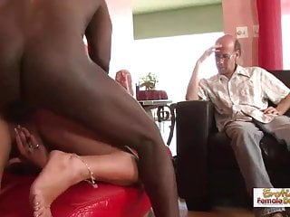 Brunette MILF cucks her husband by fucking a black man