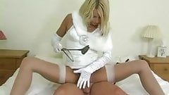 Domme in White Girdle Gloves and Stockings