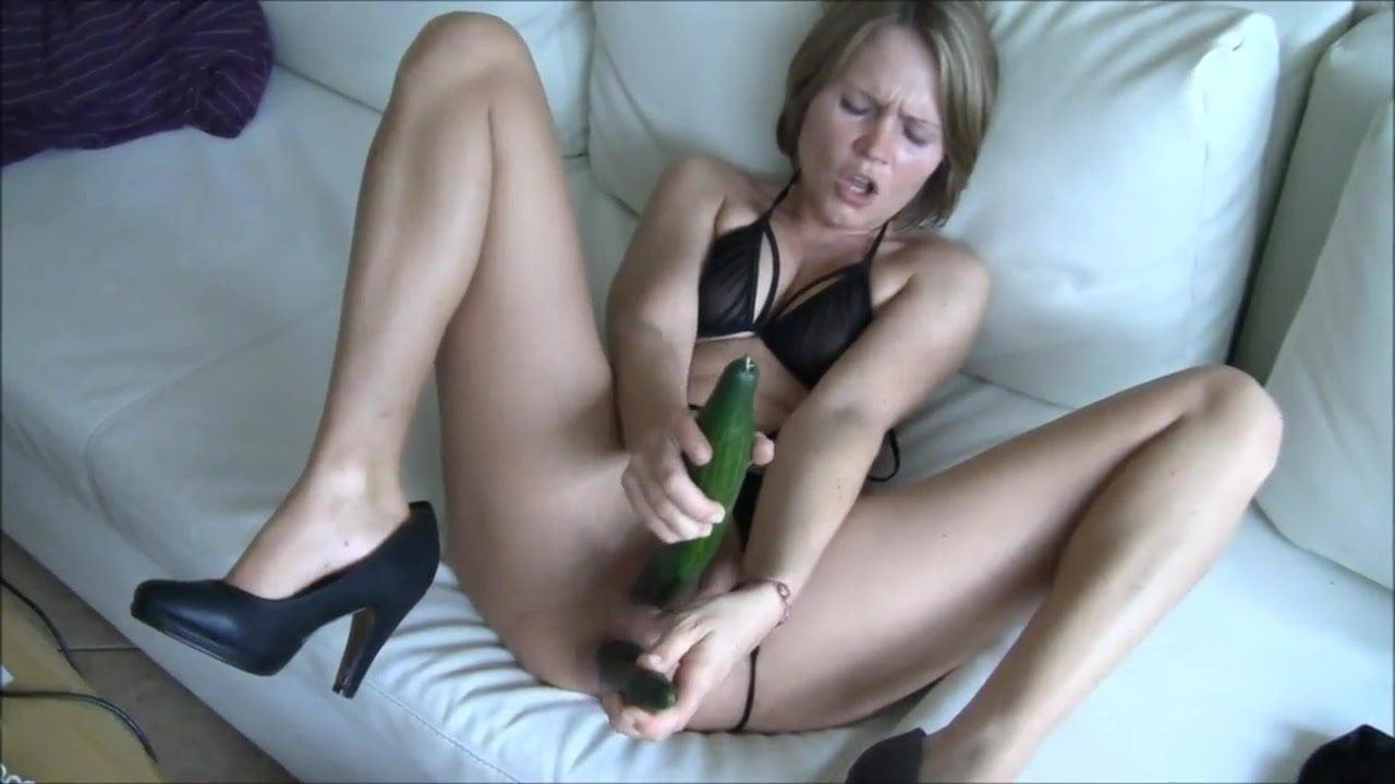 Hot milf with cucumber