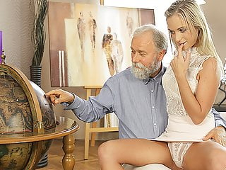 Oldk Middle Aged Teacher And Student Have Good Time At