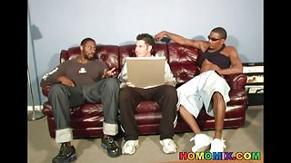Black men sharing the tight ass of a white guy