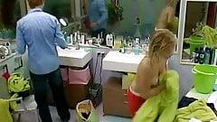 Big Brother NL Hot Blonde Teen Girl putting on bra
