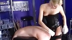 Blonde Mistress fucks her slave.
