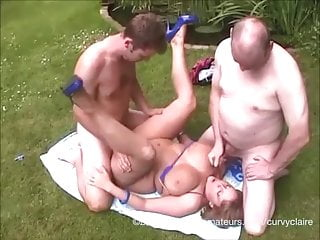 32HH housewife CurvyClaire fucks two horny guys