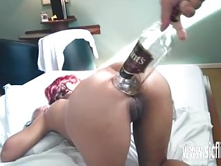 Preview 1 of Brutal anal fisting and XL whiskey bottle fuck