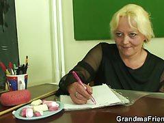 Two boys screw old granny teacher on the floor