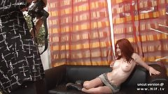 Casting of a big boobed french redhead babe hard sodomized