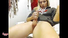 shemale small tits jerking