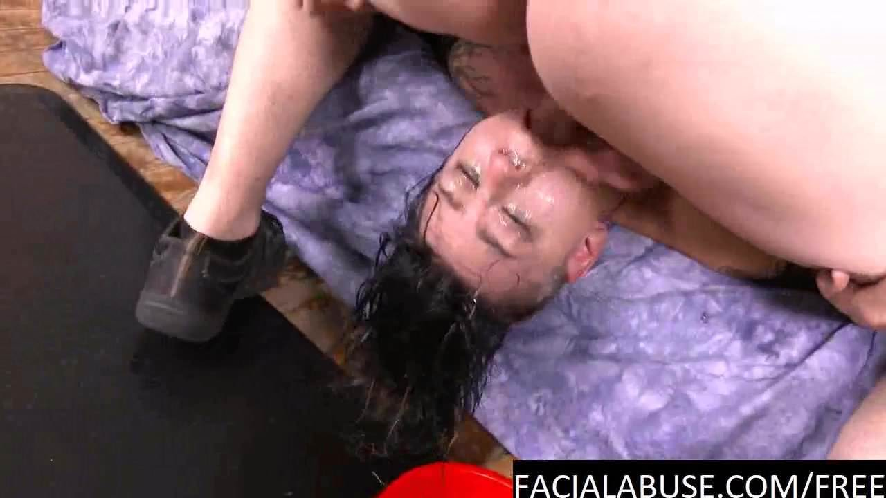Messy slut chokes on cock & eats puke at Facialabuse