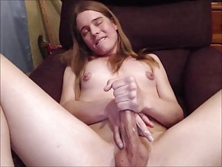 Plugged Butt Tranny Cumming On Her Sexy Body