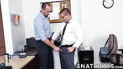 Coworkers are having a wild gay threesome at the office