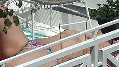 Spy BBW milf sunbathing at balcony with naked tits