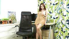 busty secretary in tan shiny pantyhose