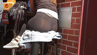 American Girl in see through leggings