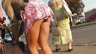 Upskirt on bus station