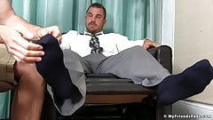 Businessman beats his meat while homo feasts on his feet